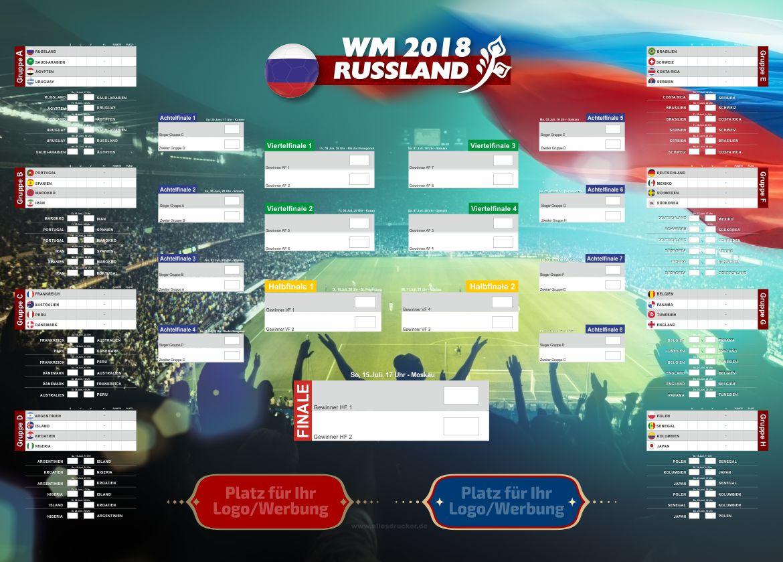Spielplan WM 2018 mit Ihrer Werbung in verschiedenen